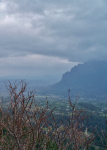 In an ominous view from Rattlesnake Ledge, Mount Si meets a lowering sky. April 24, 2009.