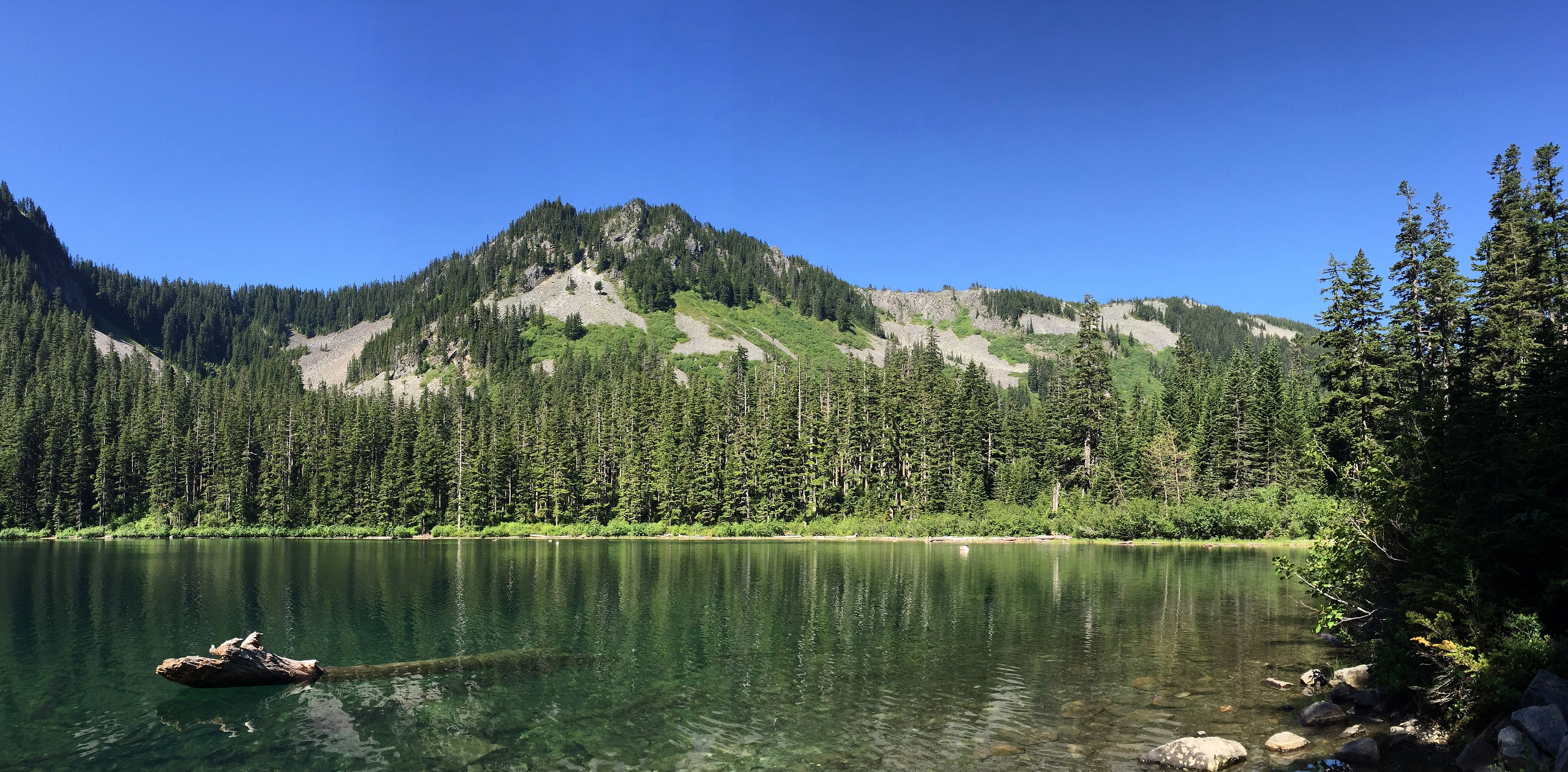 Annette Lake's eastern shore offers an expansive view of Humpback Mountain reclining beyond its opposite end. Annette Lake Trail, June 20, 2015.