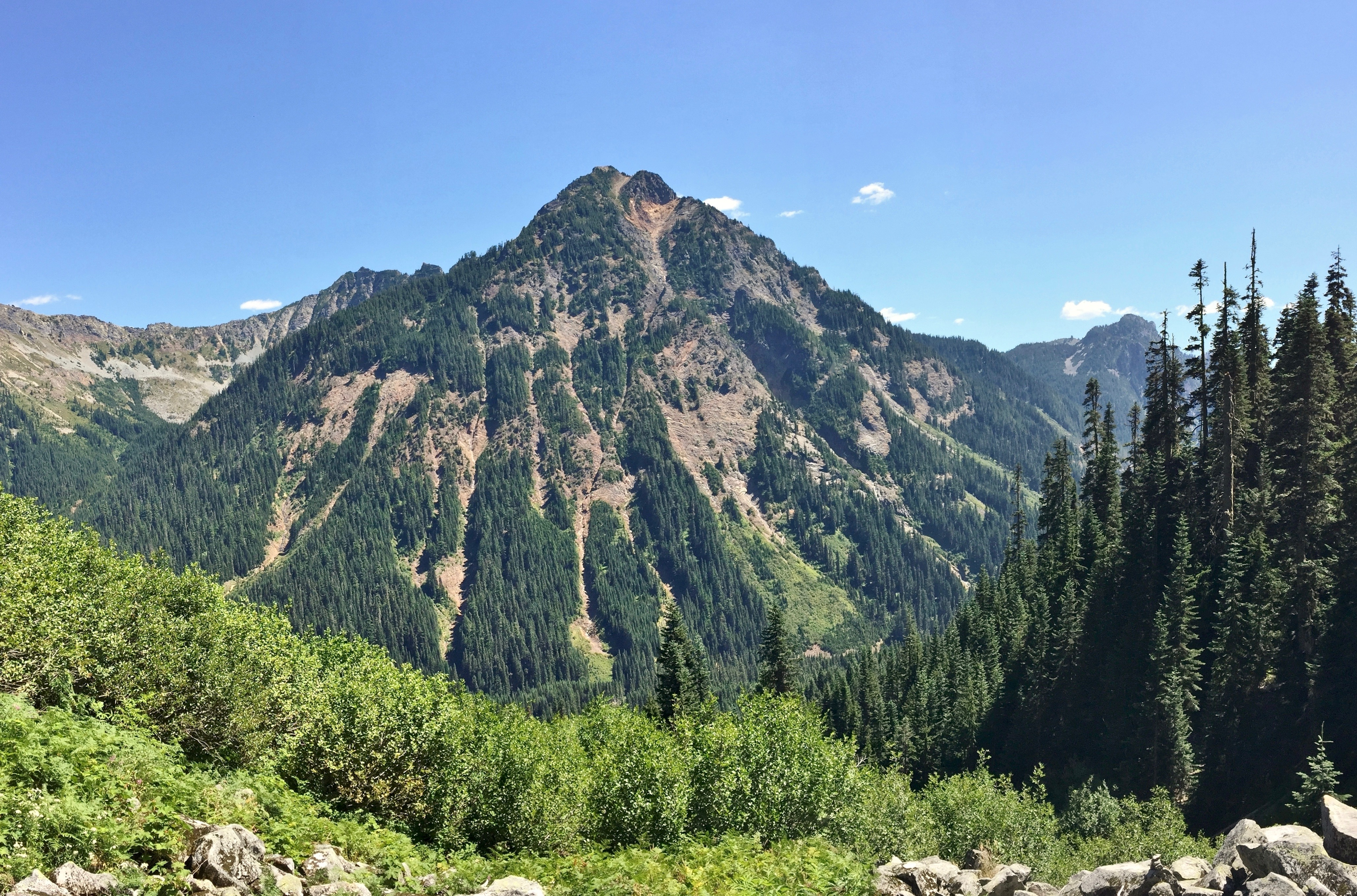 As the bootpath to Alaska Lake climbs from the valley floor below, Alta Mountain dominates the southeastern view. Gold Creek - Alaska Lake Trail, July 28, 2015.