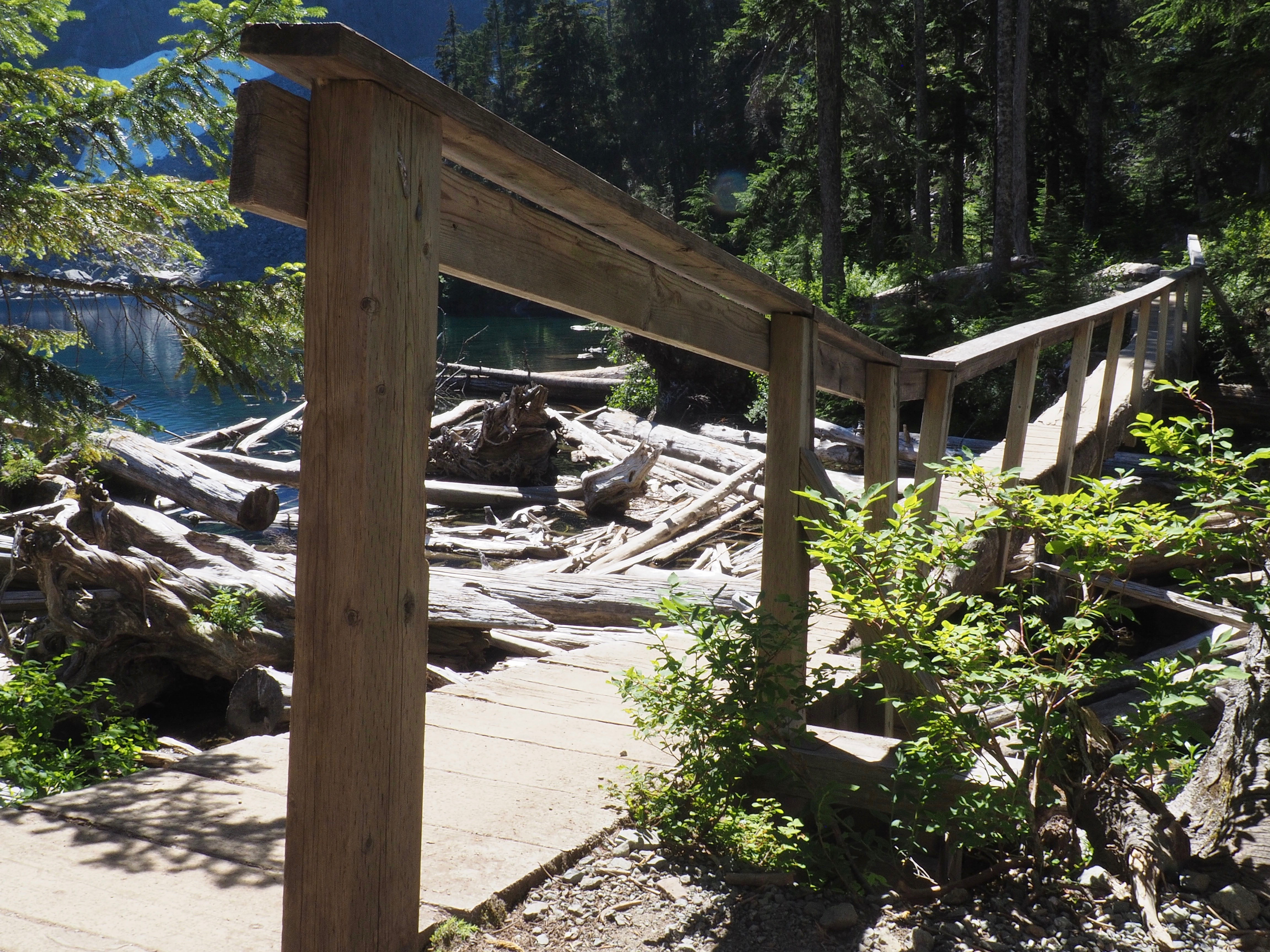 A haphazard, yet sturdy footbridge leads across Lake Serene's outlet to Bridal Veil Creek. Lake Serene Trail, July 31, 2017.