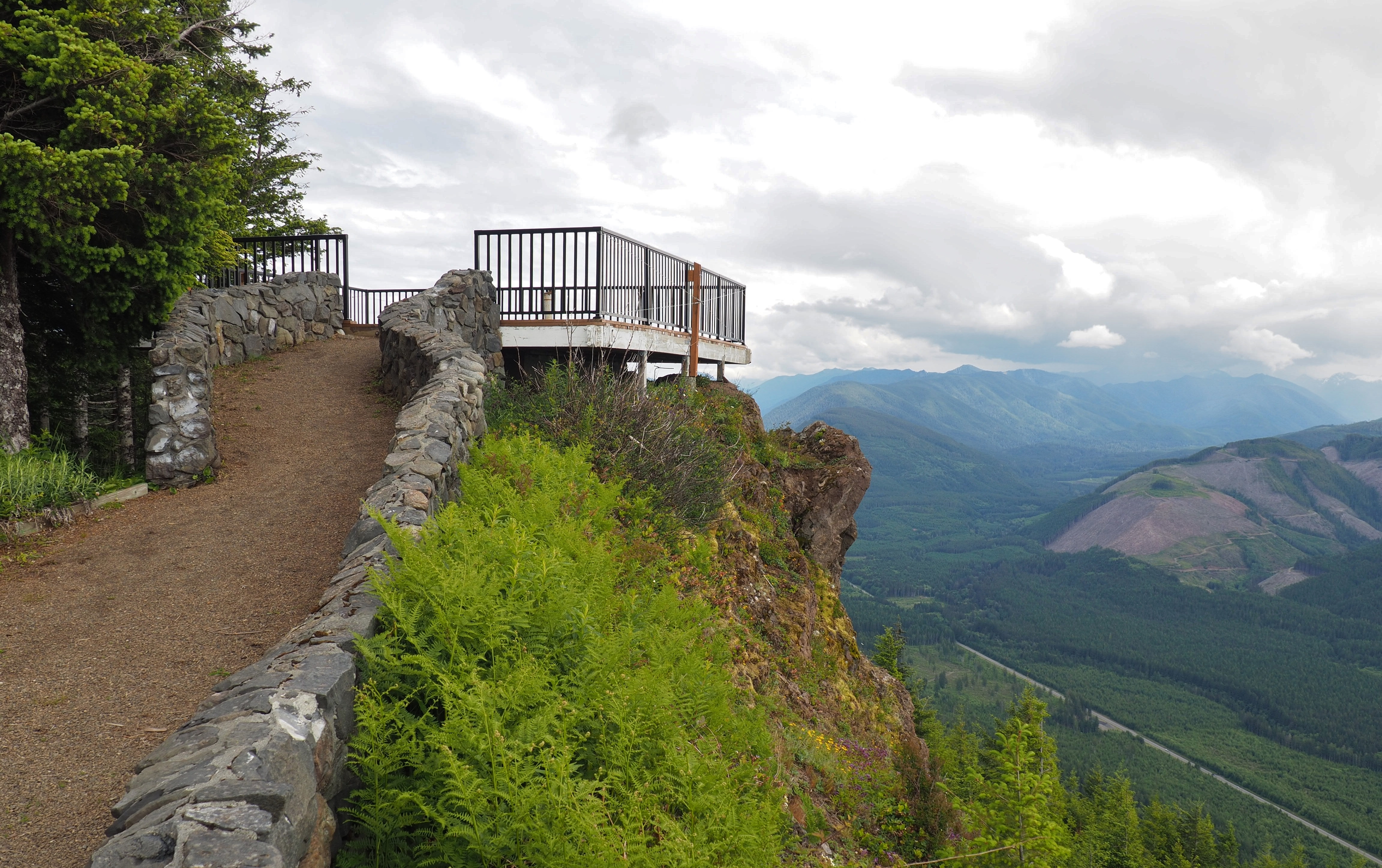 Kloshe Nanitch's old fire lookout is gone, but its foundation now supports a sturdy viewing platform that commands a view of the Sol Duc River Valley below. Kloshe Nanitch Trail, June 17, 2016.