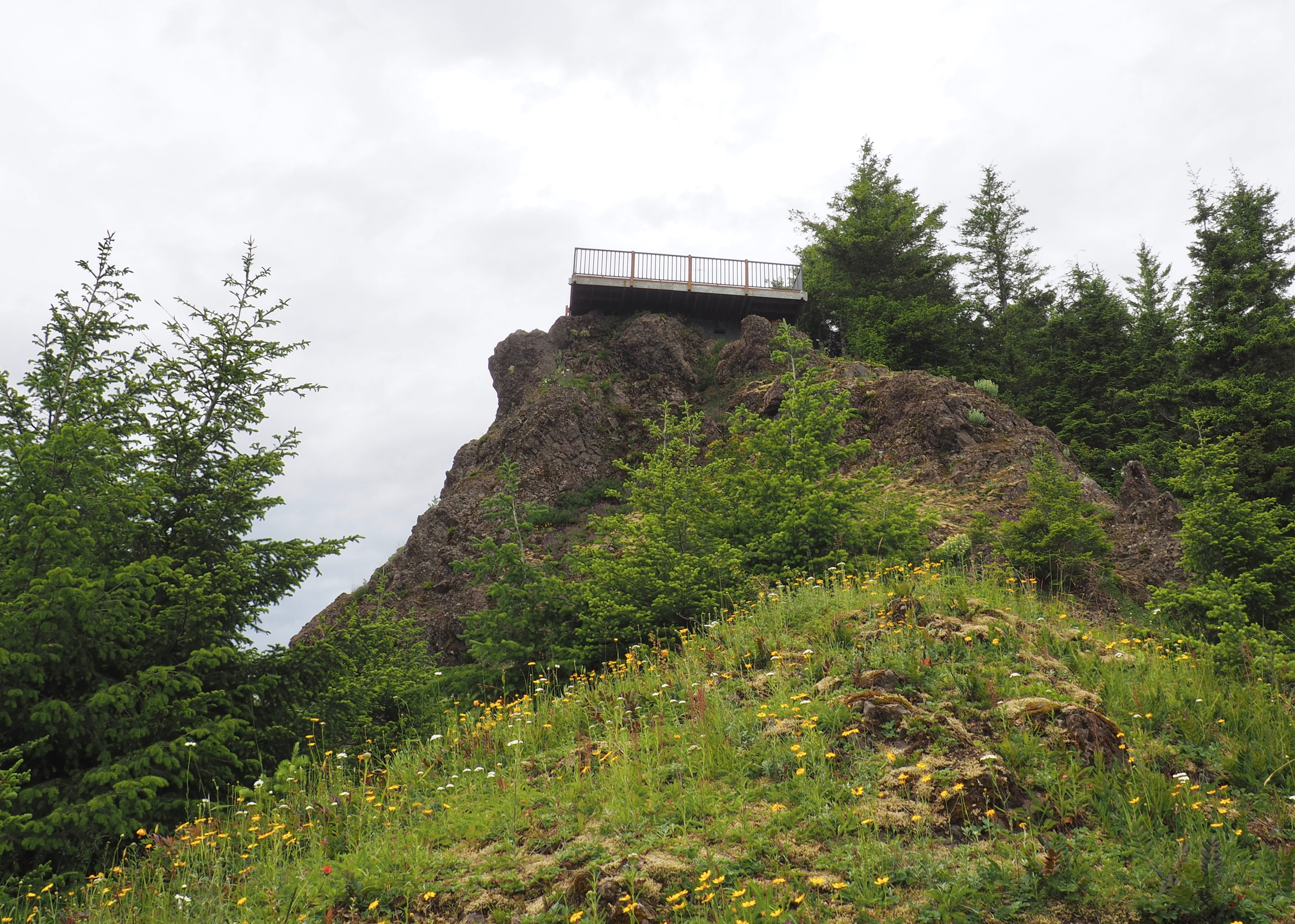 Kloshe Nanitch's lookout tops a jutting crag surrounded by a steeply pitched meadow. Kloshe Nanitch Trail, June 17, 2016.