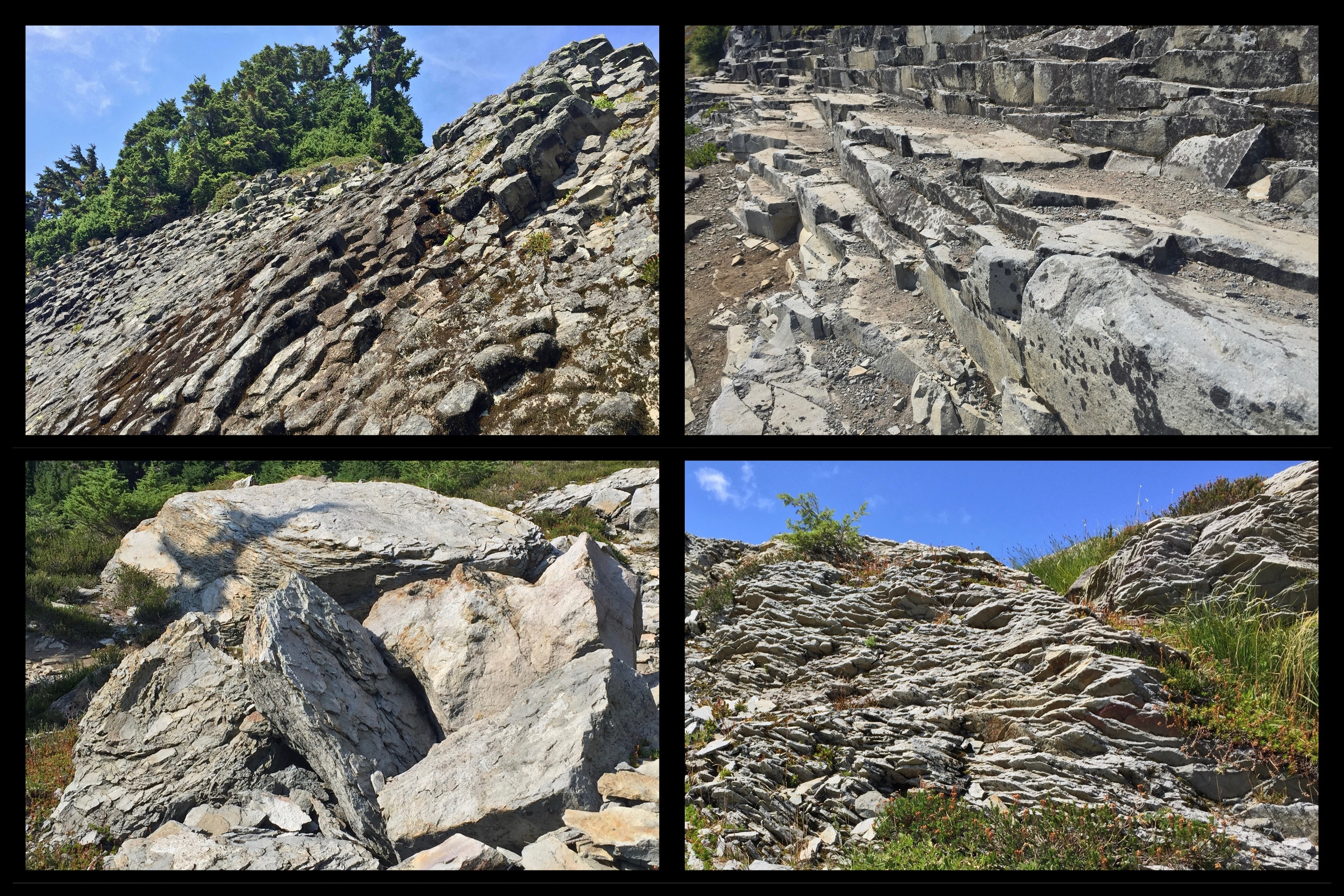 Outcrops of stone fractured into slabs, benches, and columns, neatly stacked as if by human hand, are characteristic features of Table Mountain. Wild Goose Trail/Chain Lakes Loop, August 09, 2015.