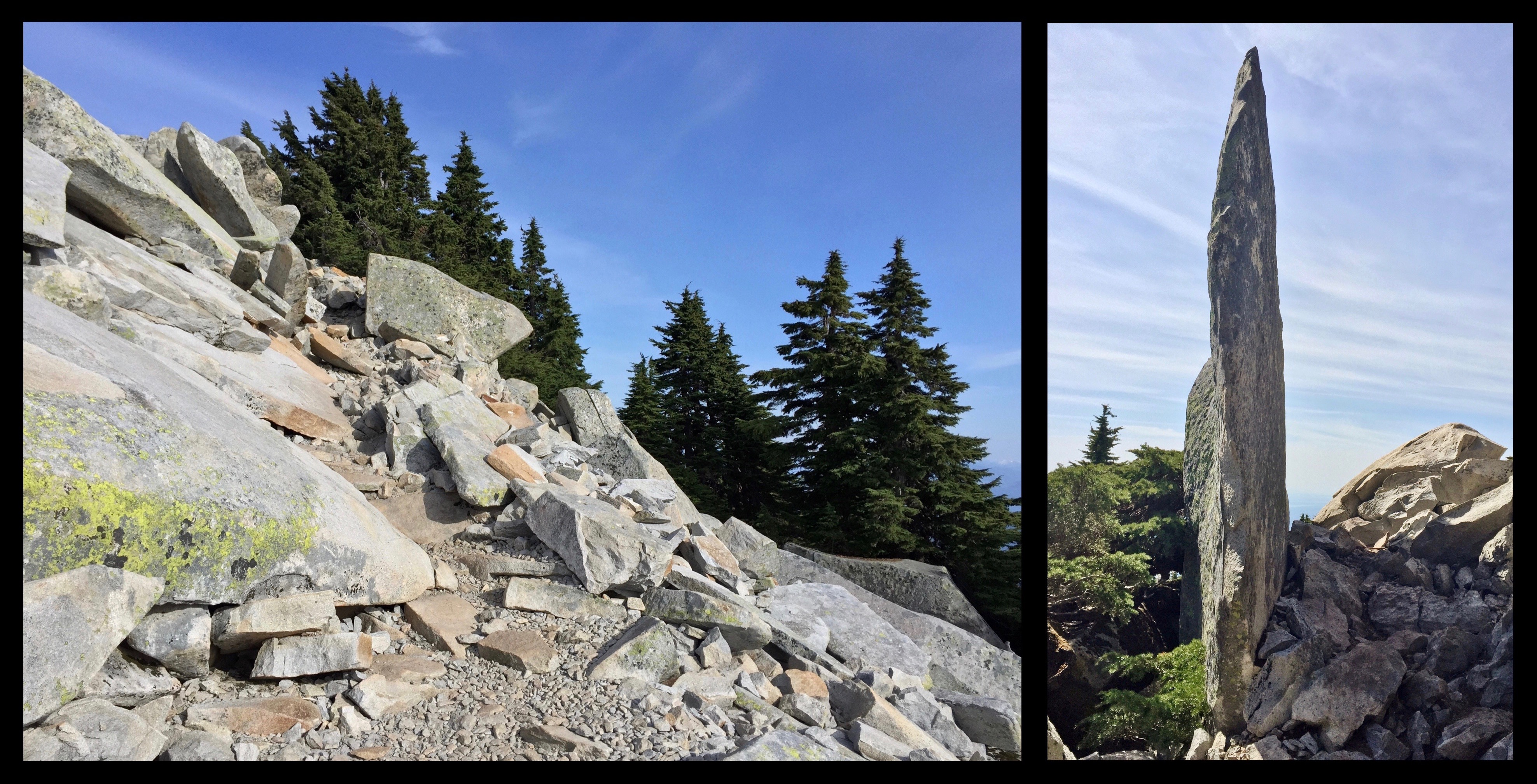Rounding the summit, the trail picks its way through piles of ever larger boulders, including one knife-edged monolith standing perfectly upright beside the trail as if set by human hand. Mount Pilchuck Trail, May 09, 2015.