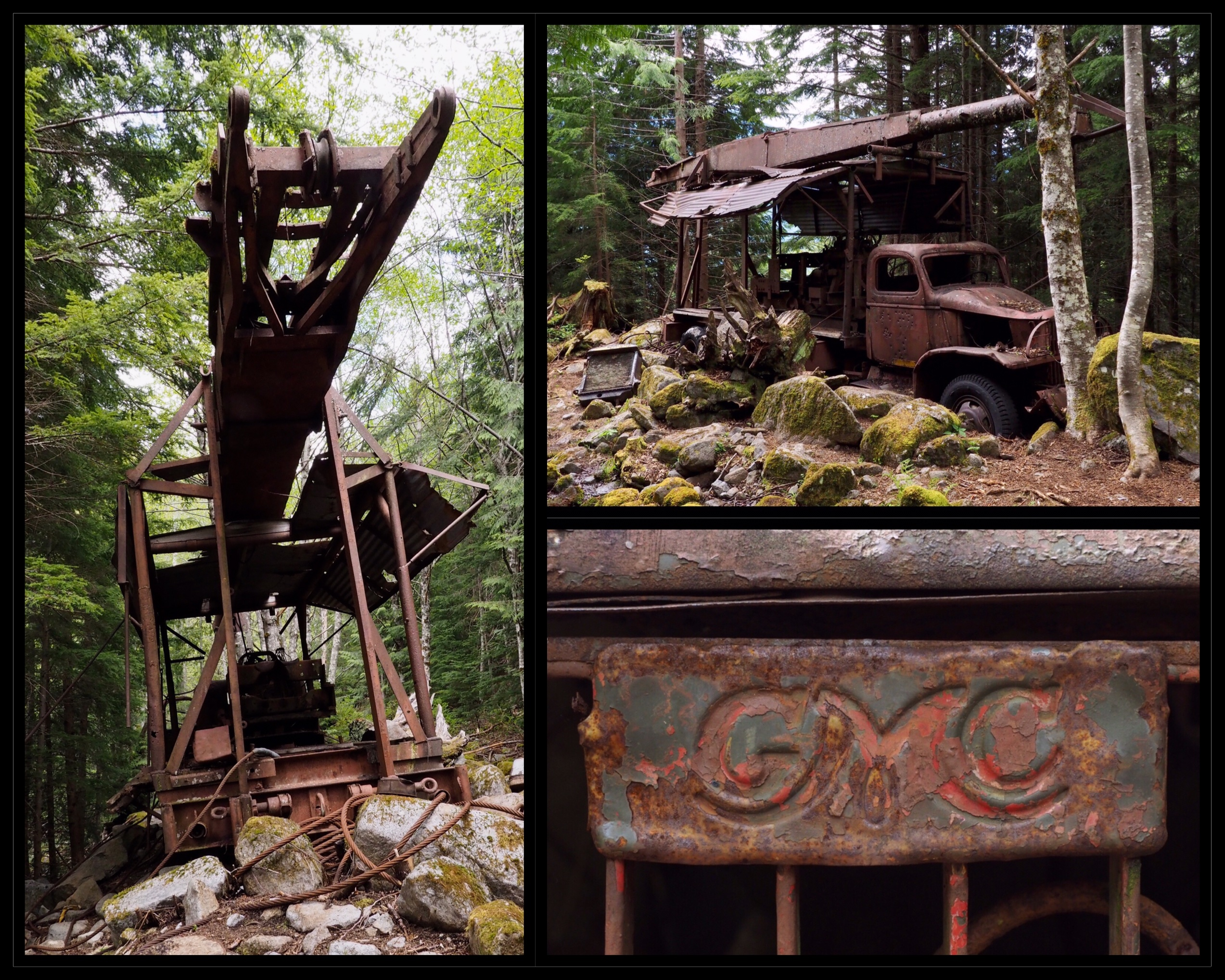 "Dirty Harry's ""Museum"" consists of one of his abandoned trucks, some rusting cables, and a few other odds and ends, although it is reportedly near a stash of equipment Dirty Harry himself referred to as his ""museum."" The truck appears to be a 1930s- or '40s-model GMC. Dirty Harry's Peak Trail, May 19, 2019."